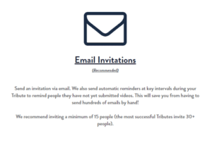 Invite friends to record a birthday video montage using our email invitations